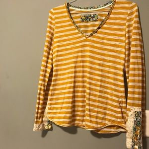 Anthro Little Yellow Button Stripe Long Sleeve Top
